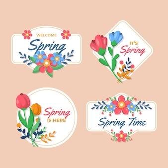 Jeu d'étiquettes de printemps design plat
