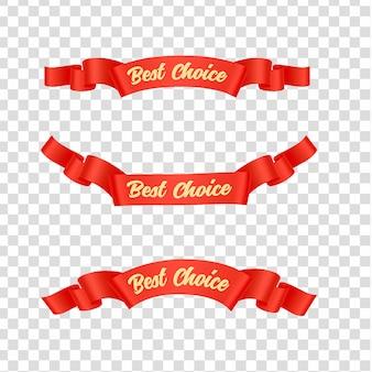 Jeu d'étiquettes rubans rouges