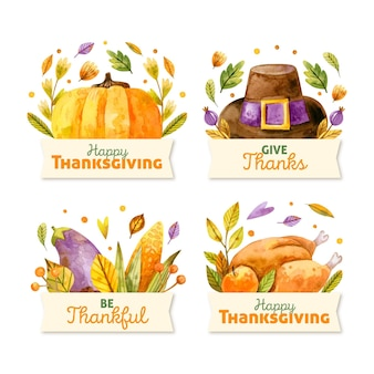 Jeu d'étiquettes de thanksgiving aquarelle