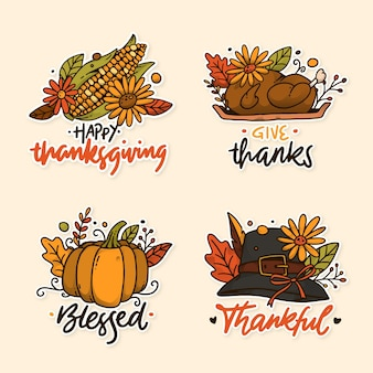 Jeu d'étiquettes de thanksgiving dessinés à la main