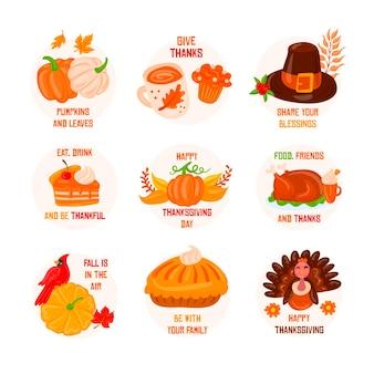 Jeu d'étiquettes de thanksgiving dessinés à la main