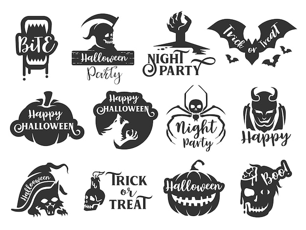 Jeu d'étiquettes typographiques halloween
