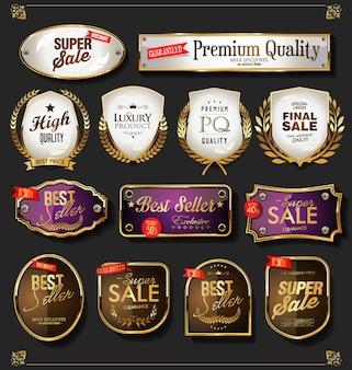 Jeu d'étiquettes de vente d'or