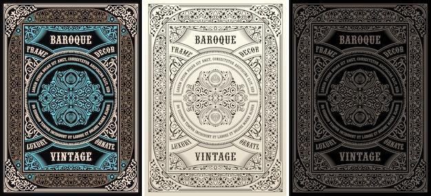 Jeu d'étiquettes vintage et cadres calligraphiques