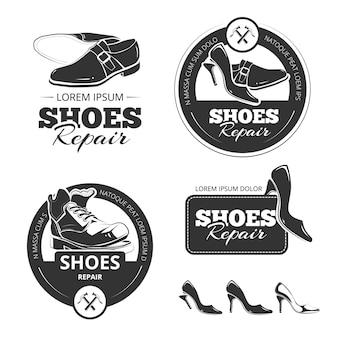 Jeu d'étiquettes vintage de chaussures