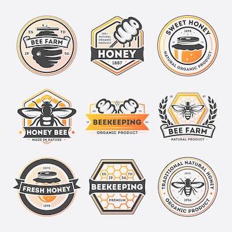 Jeu d'étiquettes vintage isolé miel sucré