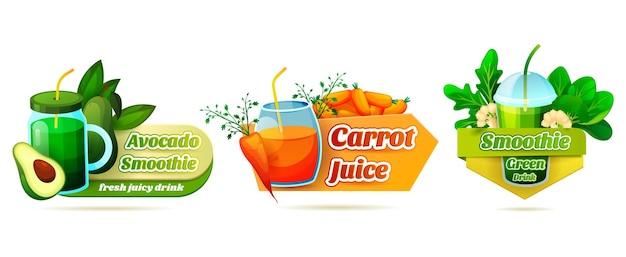 Jeu d'étiquettes volumétriques pour smoothie au jus de légumes