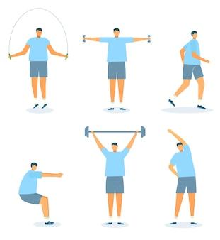 Jeu d'exercices illustration vectorielle personnage homme faire fitness isolé sur blanc séance d'entraînement pour un corps sain...