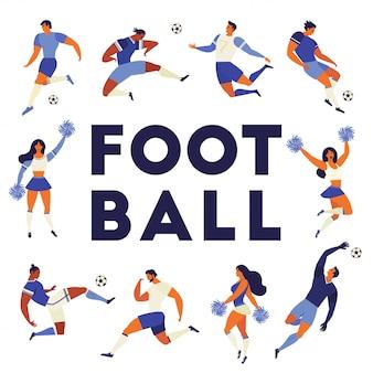 Jeu de fans de football joueurs de football pom-pom girls
