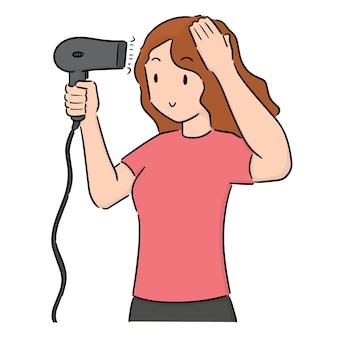 Jeu de femme à l'aide de sèche-cheveux vectorielles