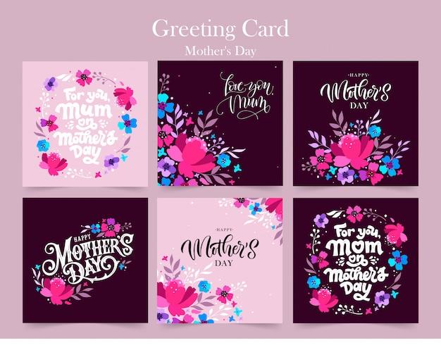 Jeu de fête des mères heureux. cartes de voeux pour la fête des mères.