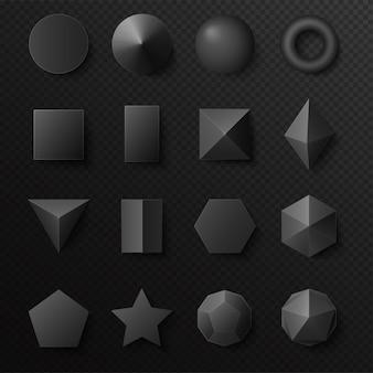 Jeu de figures de formes noires volumétriques 3d. primitives réalistes avec des ombres.