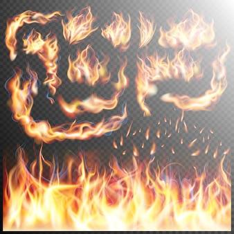 Jeu de flammes de feu réalistes.