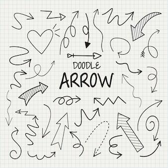 Jeu de flèche doodle, illustration vectorielle