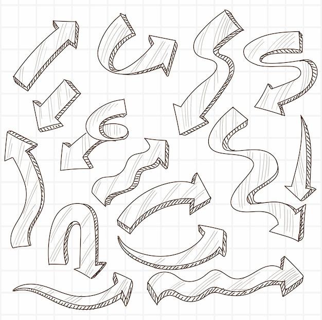 Jeu de flèches créatives dessinées à la main