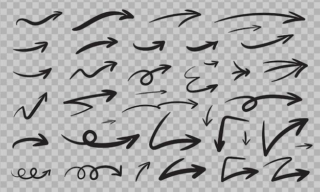 Jeu de flèches dessinées à la main. flèches esquissées isolées. dessin de doodle