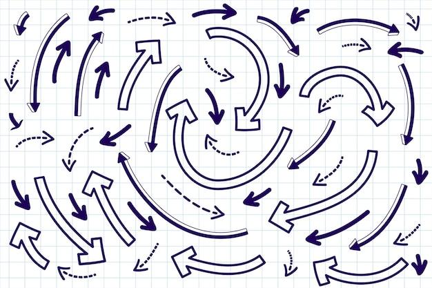 Jeu de flèches différentes créatives se déplaçant dans un cercle