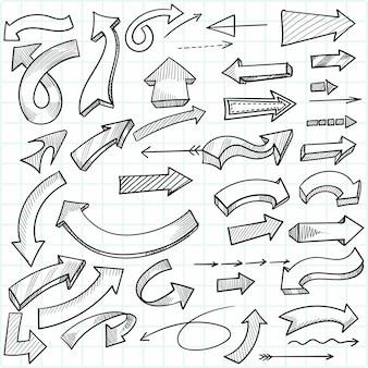 Jeu de flèches directionnelles créatives dessinées à la main