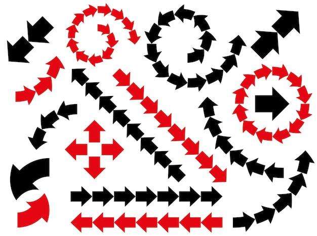 Jeu de flèches noires abstraites vectorielles. icônes de collection
