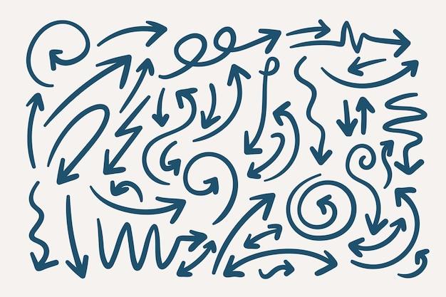 Jeu de flèches de style dessiné à la main