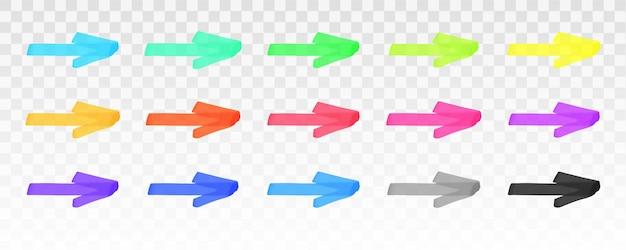 Jeu de flèches de surligneur de couleur isolé sur fond transparent. flèches de marqueur rouge, jaune, rose, vert, bleu, violet, gris, noir. élément graphique élégant dessiné à la main de vecteur.