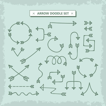 Jeu de flèches vectorielles doodle dessinés à la main