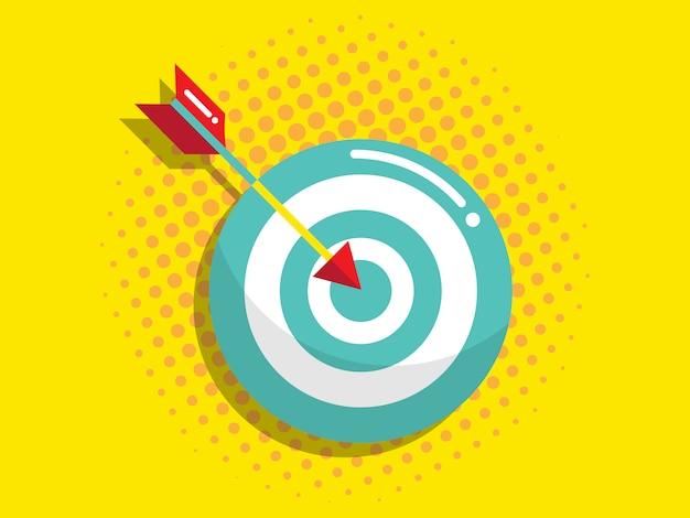 Jeu de fléchettes avec flèche, vision d'entreprise et concept d'objectif