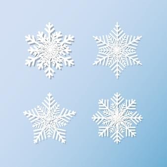 Jeu de flocons de neige fond pour l'hiver et noël
