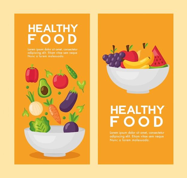 Jeu de flyer frais de nourriture saine
