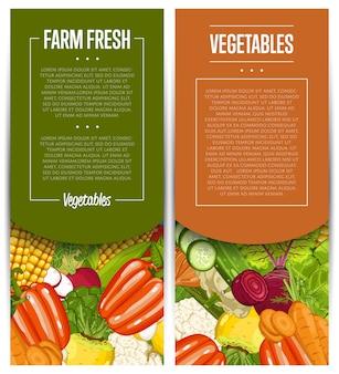 Jeu de flyers de culture de légumes bio