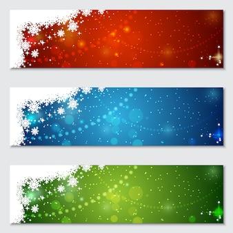 Jeu de fond coloré bannière noël et nouvel an