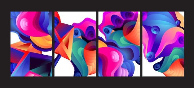 Jeu de fond fluide abstrait dégradé coloré.