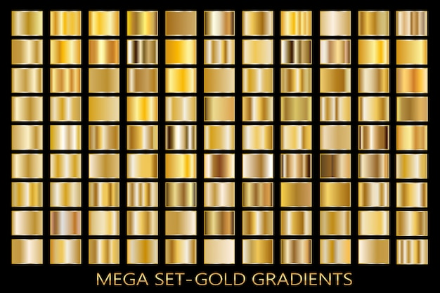 Jeu de fond de texture de feuille d'or. modèle dégradé de vecteur doré, cuivre, laiton et métal.