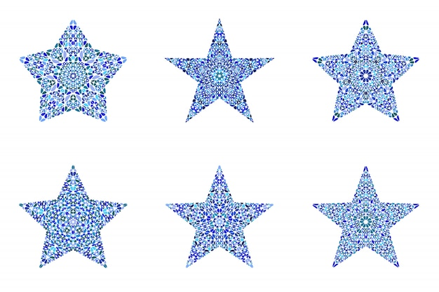 Jeu de forme d'étoile abstraite isolée