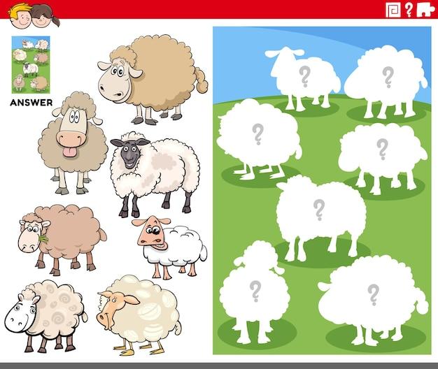 Jeu de formes assorties avec des moutons de dessin animé