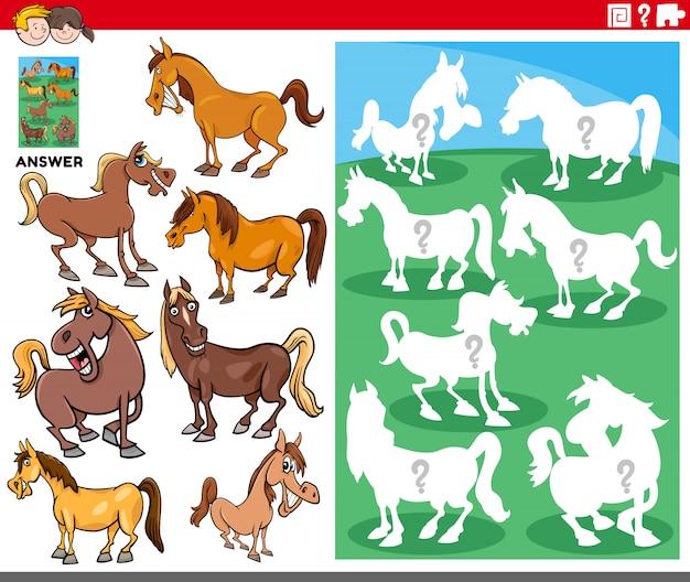 Jeu de formes assorties avec des personnages de chevaux de dessin animé