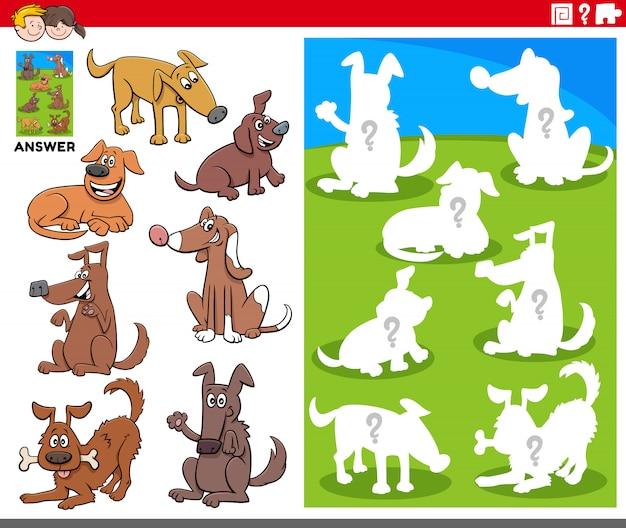 Jeu de formes assorties avec des personnages de chiens de dessin animé
