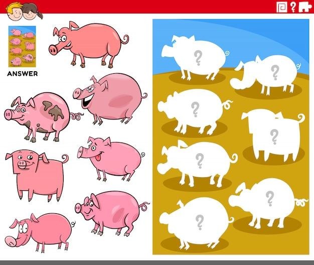 Jeu de formes assorties avec des personnages de cochons de dessin animé