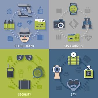 Jeu de gadgets espion 4 icônes plates