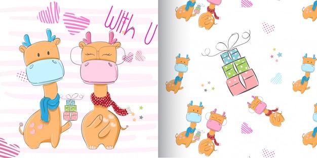 Jeu de girafe mignon, main dessiner illustration-vecteur