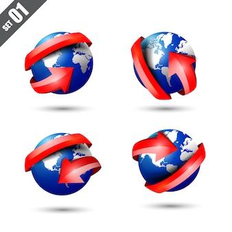 Jeu de globe 3d et carte du monde