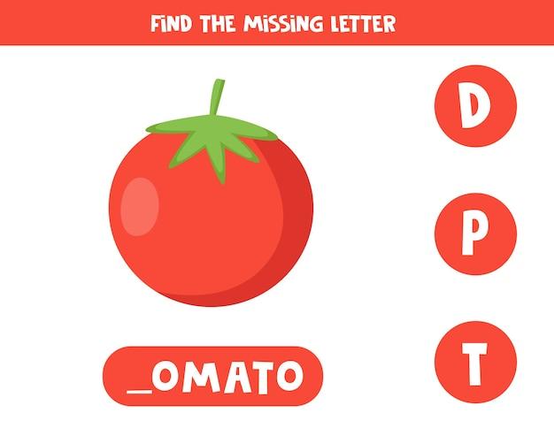 Jeu de grammaire anglaise pour enfants d'âge préscolaire avec tomate rouge dessin animé mignon