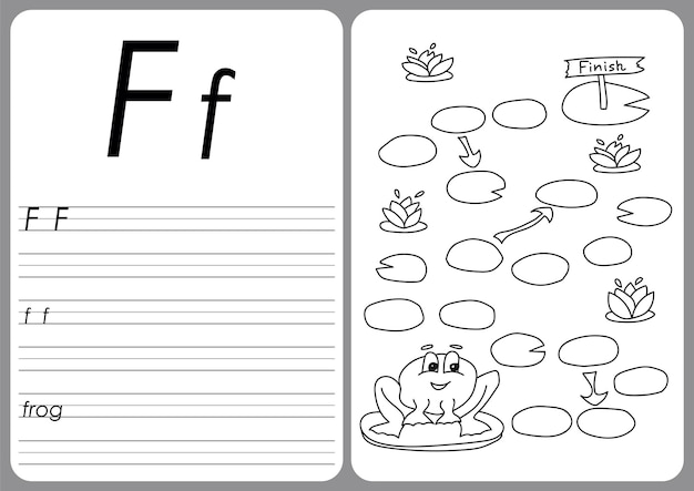 Jeu de grenouille de dessin animé. pages de livre de coloriage de vecteur pour les enfants