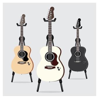 Jeu de guitare électrique acoustique avec support