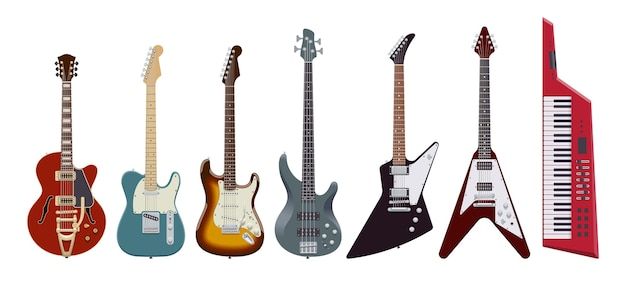 Jeu de guitare. guitares électriques réalistes sur fond blanc. instruments de musique. illustration. collection
