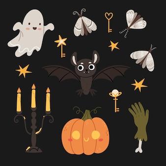 Jeu d'halloween mignon fantôme chauve-souris chandelier gothique zombie main papillon de nuit clés magiques citrouille d'halloween