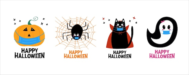 Jeu d'halloween de quarantaine. jack o lantern, fantôme, chat, araignée dans un masque médical.