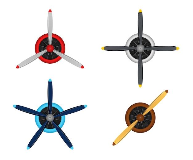 Jeu d'hélices de pale d'avion isolé sur fond blanc. icônes d'hélice d'avion vintage avec moteur radial. icônes de turbines, pale de ventilateur, ventilateur éolien, générateur d'équipement. illustration vectorielle.