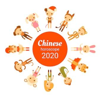 Jeu d'horoscope chinois. carte de nouvel an de dessin animé de vecteur avec des gens plats
