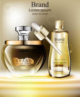 Jeu d'huile cosmétiques vector réaliste. produits d'emballage simulent l'essence naturelle organique